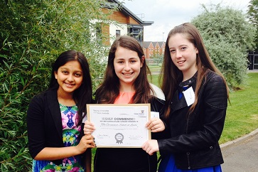 WEB Nikita, Jenni and Laura with highly commended certificate