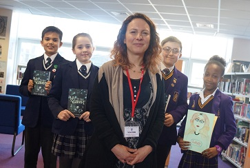 WEB Emily Diamand with GSAL Jnr and Moorlands pupils