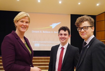 WEB Mandy Hickson with Harry Evans and James Kemp
