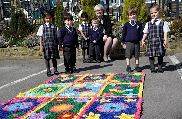 WEB GSAL principal Sue Woodroofe with Rose Court nursery pupils
